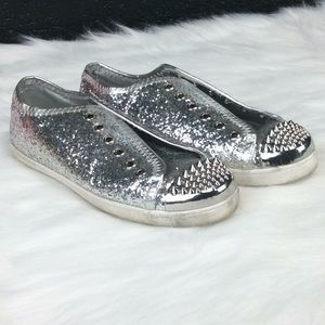 Shoes - Silver Sequin Sneakers - Size 8